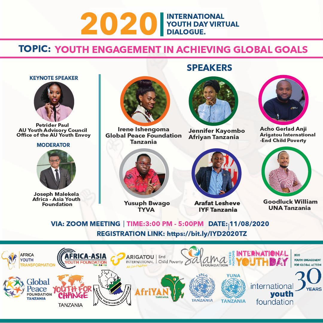 "INTERNATIONAL YOUTH DAY 2020 : ""YOUTH ENGAGEMENT IN ACHIEVING GLOBAL GOALS"". August 11th – 12th, 2020, DAR ES SALAAM"